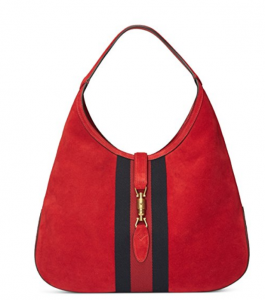 Gucci Red Soft Suede Shoulder Hobo Bag